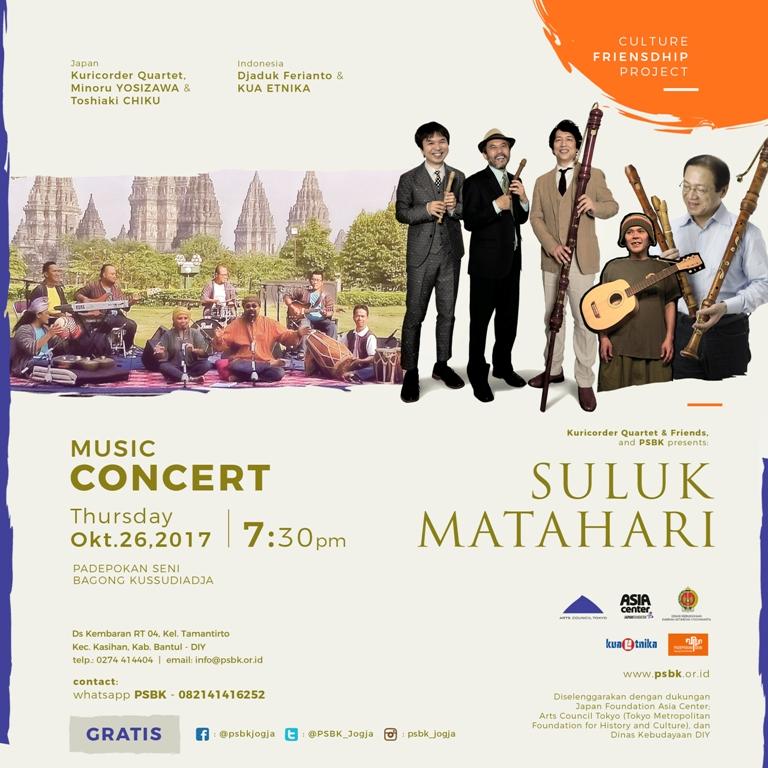 POSTER KONSER | Musik | SULUK MATAHARI | Kuricorder Quartet & PSBK