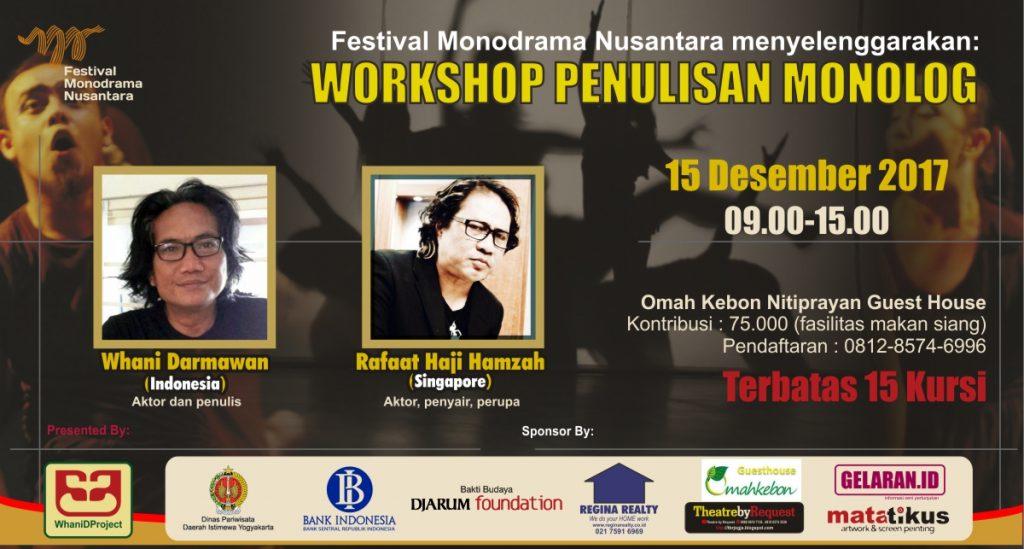 Workshop Penulisan Monolog FB | Workshop Penulisan Monolog - Festival Monodrama Nusantara 2017